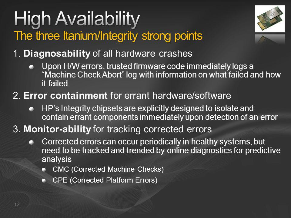 High Availability The three Itanium/Integrity strong points