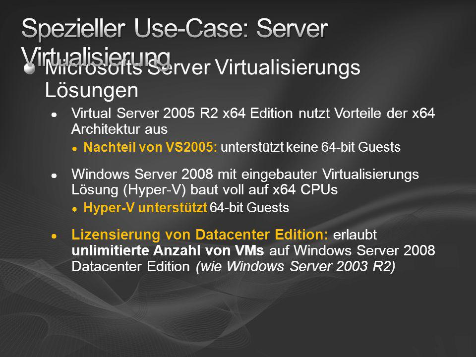 Spezieller Use-Case: Server Virtualisierung