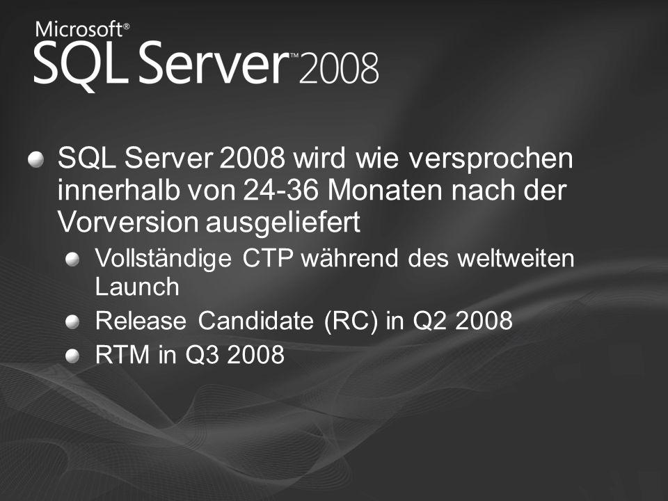 SQL Server 2008 wird wie versprochen innerhalb von 24-36 Monaten nach der Vorversion ausgeliefert