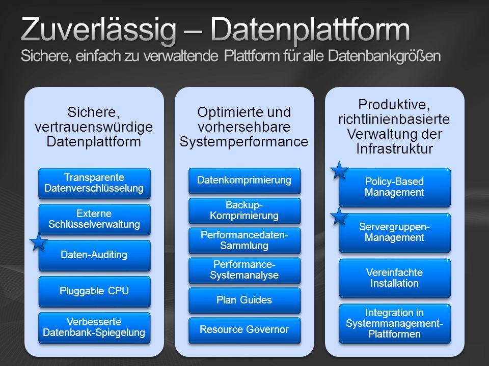 Zuverlässig – Datenplattform Sichere, einfach zu verwaltende Plattform für alle Datenbankgrößen