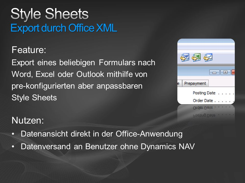 Style Sheets Export durch Office XML