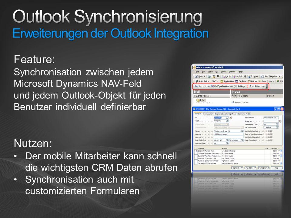 Outlook Synchronisierung Erweiterungen der Outlook Integration