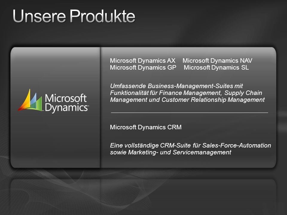 Unsere Produkte Microsoft Dynamics AX Microsoft Dynamics NAV Microsoft Dynamics GP Microsoft Dynamics SL.