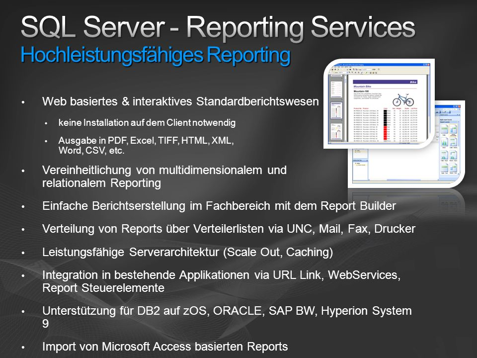 SQL Server - Reporting Services Hochleistungsfähiges Reporting