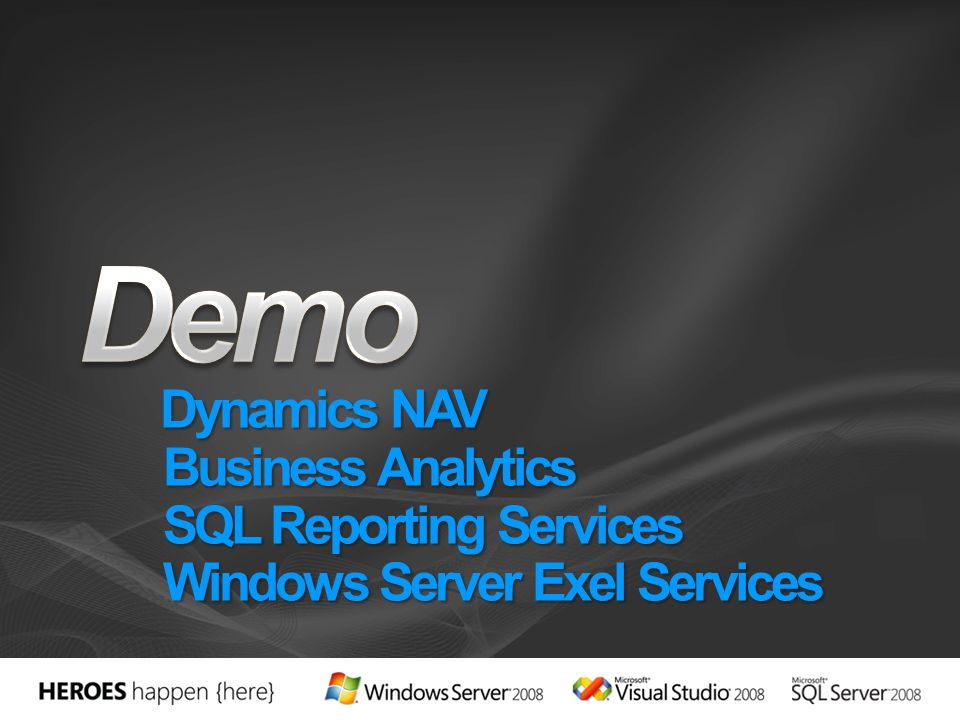 3/28/2017 8:11 PM Demo. Dynamics NAV Business Analytics SQL Reporting Services Windows Server Exel Services.