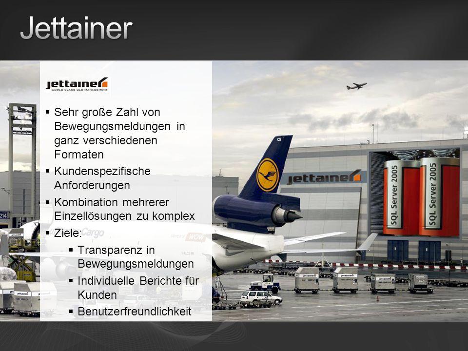 Jettainer Sehr große Zahl von Bewegungsmeldungen in ganz verschiedenen Formaten. Kundenspezifische Anforderungen.