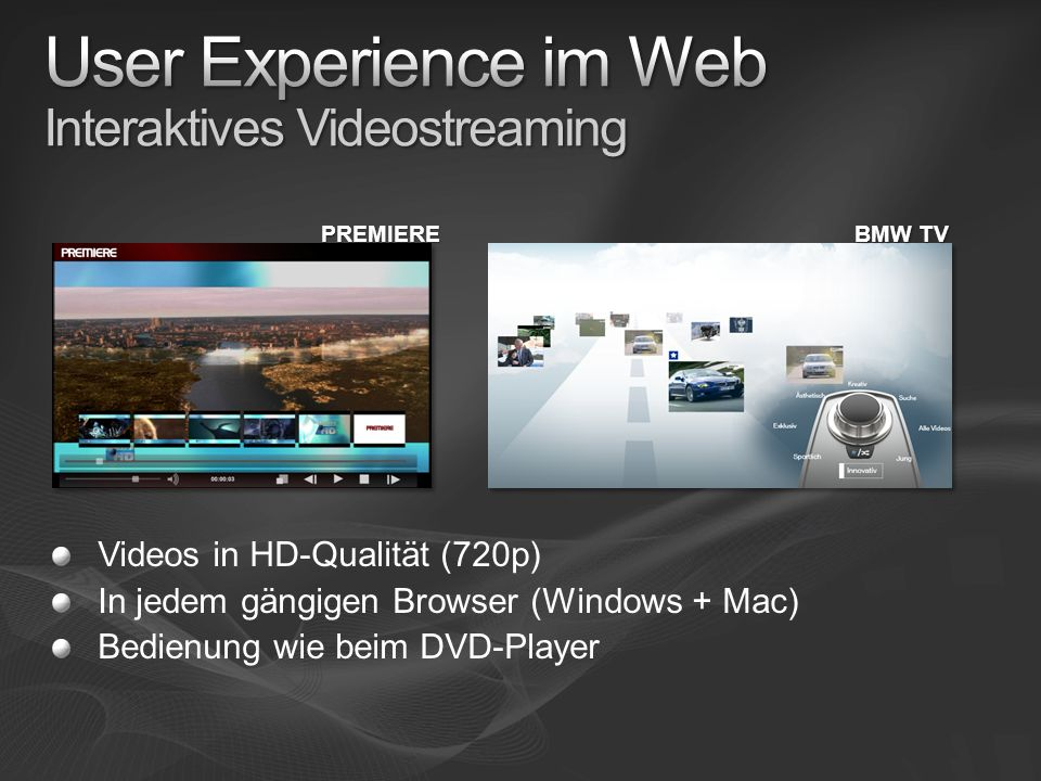 User Experience im Web Interaktives Videostreaming