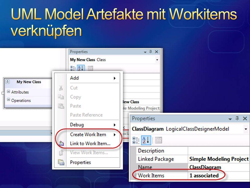 UML Model Artefakte mit Workitems verknüpfen