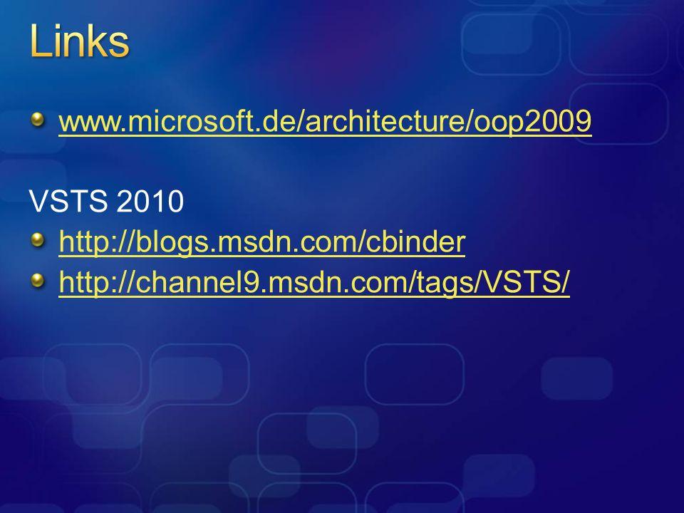 Links www.microsoft.de/architecture/oop2009 VSTS 2010