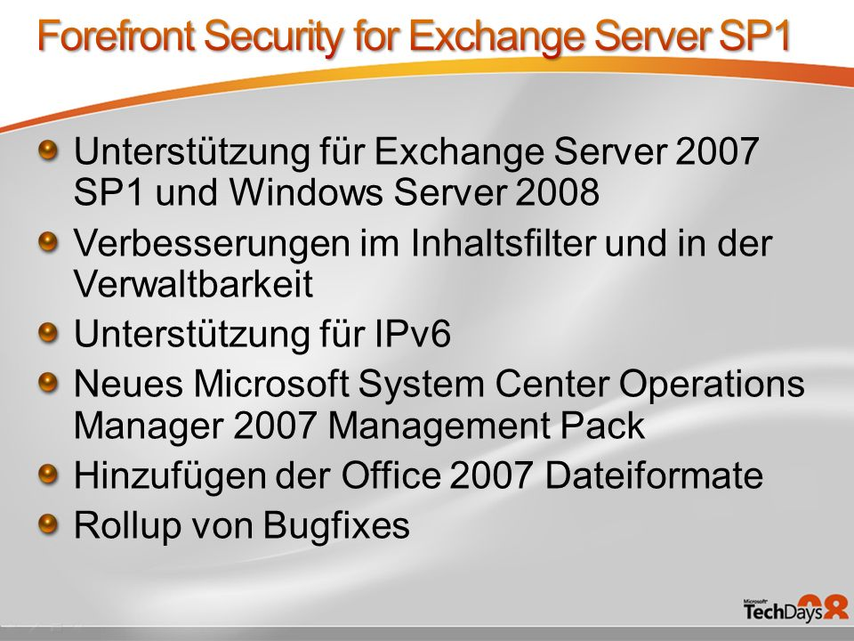 Forefront Security for Exchange Server SP1