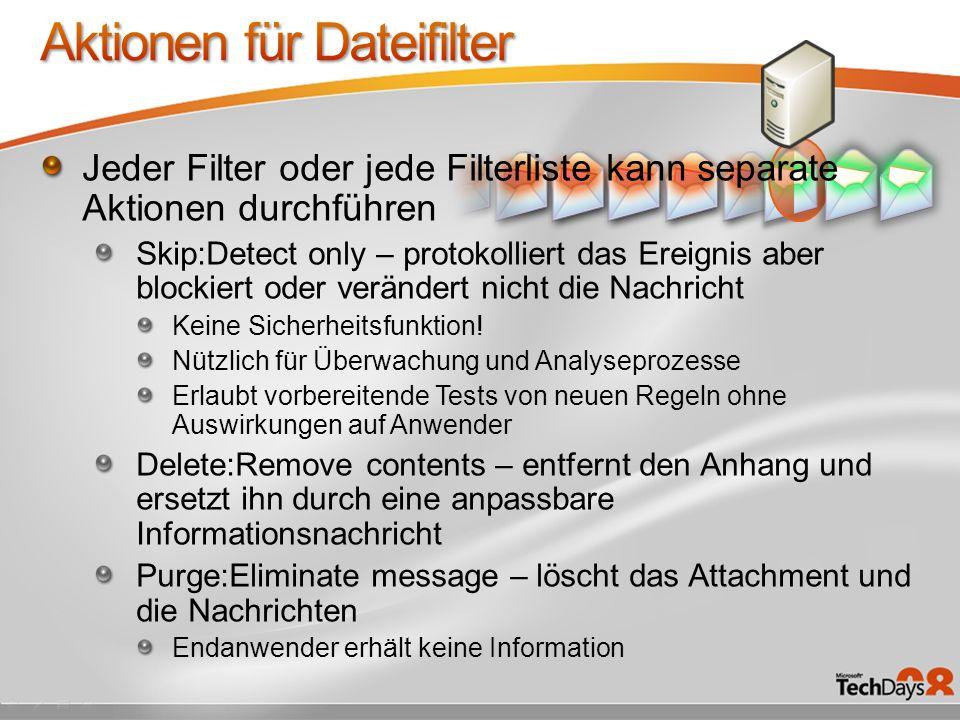 Aktionen für Dateifilter