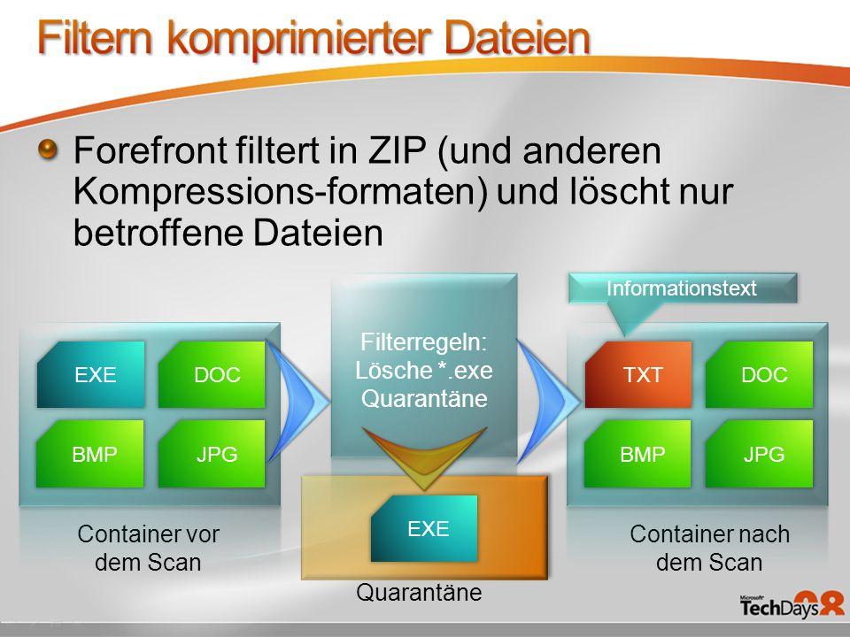 Filtern komprimierter Dateien