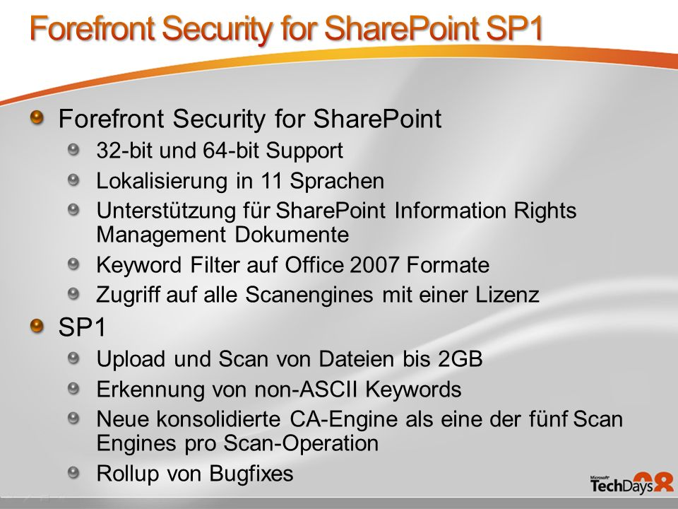 Forefront Security for SharePoint SP1