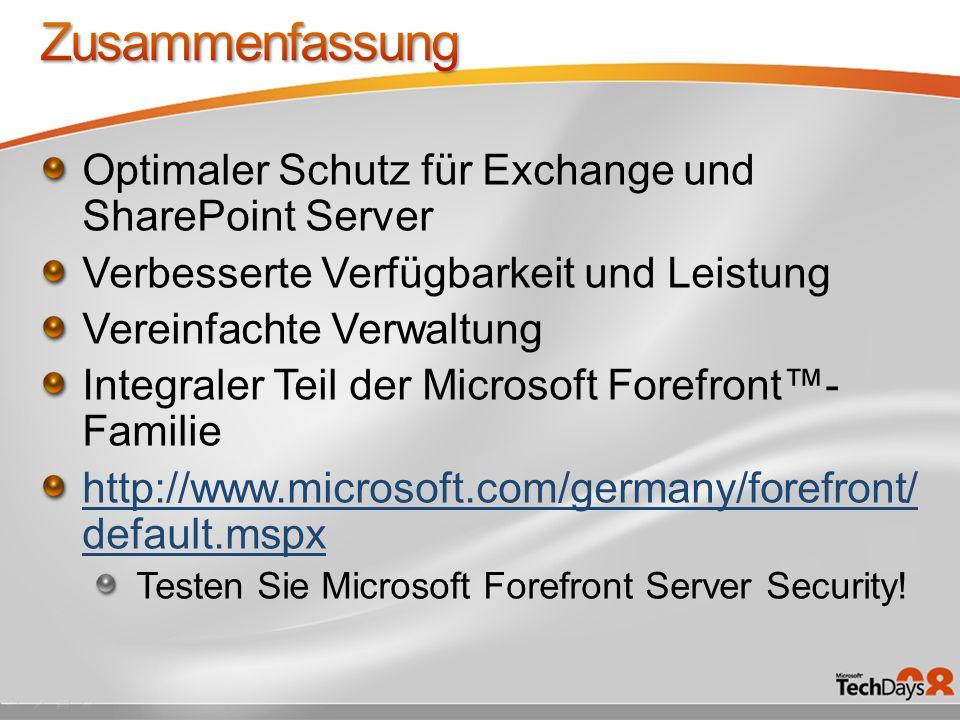 Zusammenfassung Optimaler Schutz für Exchange und SharePoint Server