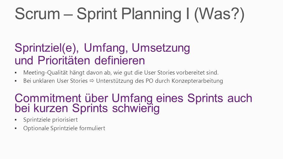Scrum – Sprint Planning I (Was )