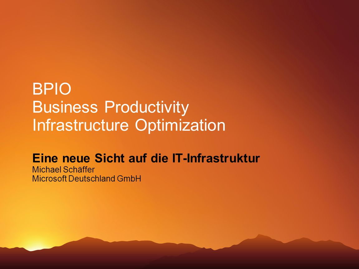BPIO Business Productivity Infrastructure Optimization