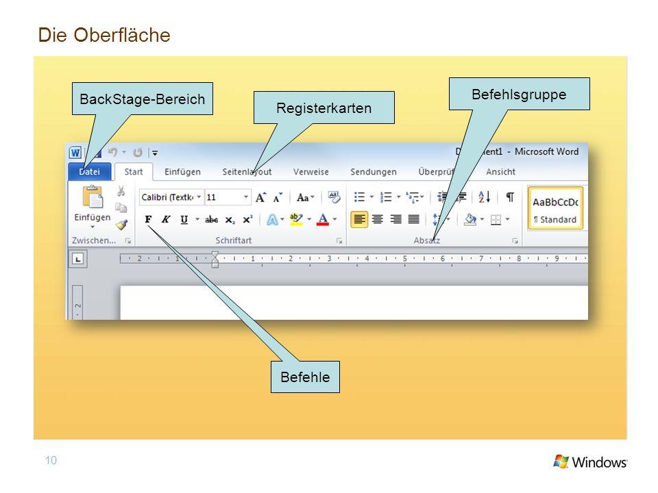Die Oberfläche Befehlsgruppe BackStage-Bereich Registerkarten Befehle