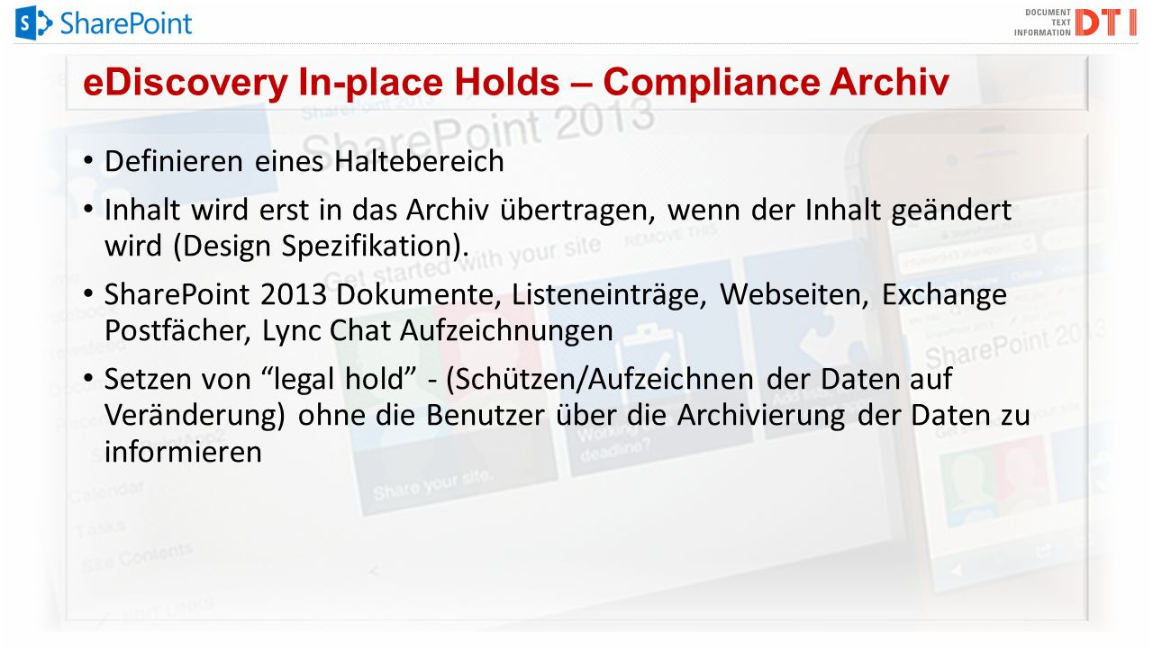 eDiscovery In-place Holds – Compliance Archiv