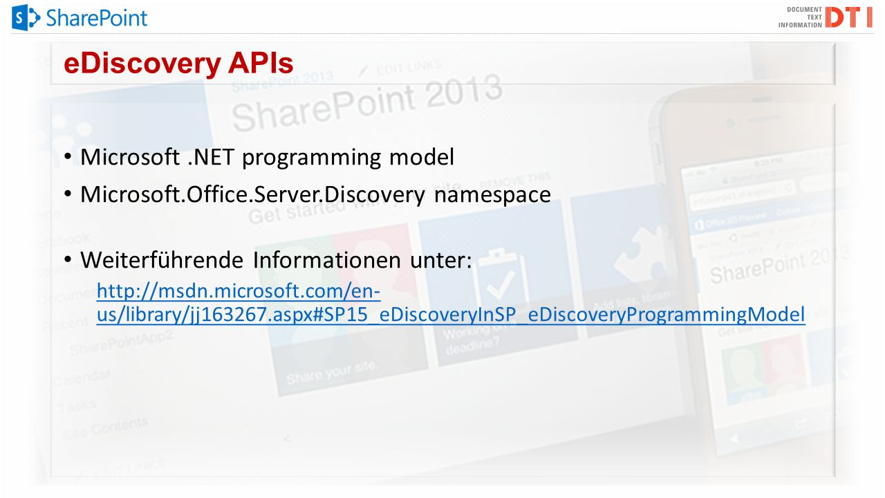 eDiscovery APIs Microsoft .NET programming model