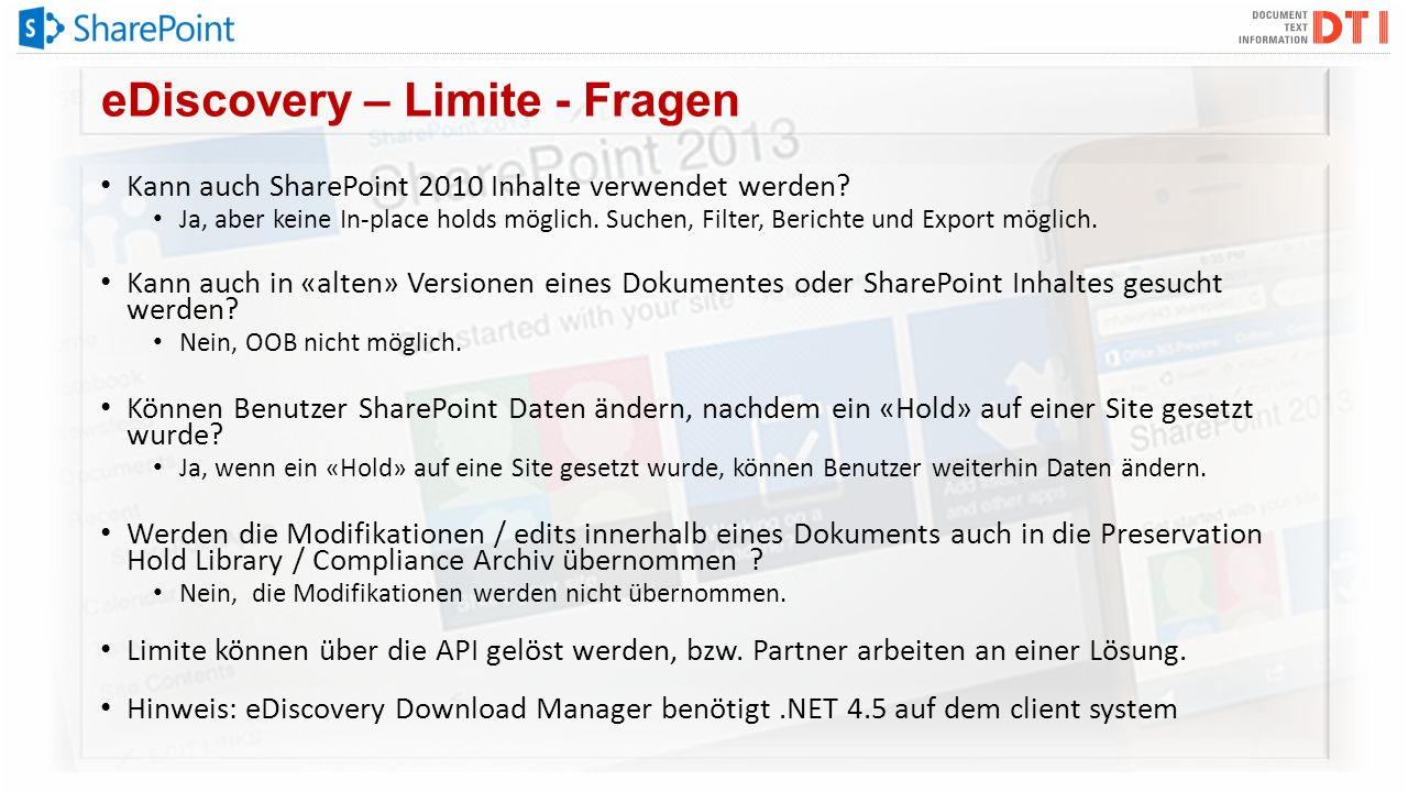 eDiscovery – Limite - Fragen