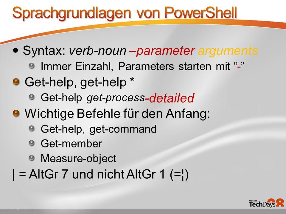 Sprachgrundlagen von PowerShell