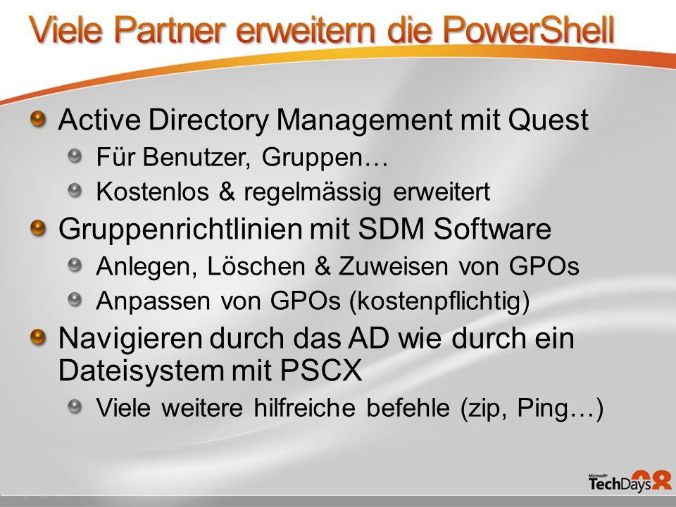 Viele Partner erweitern die PowerShell