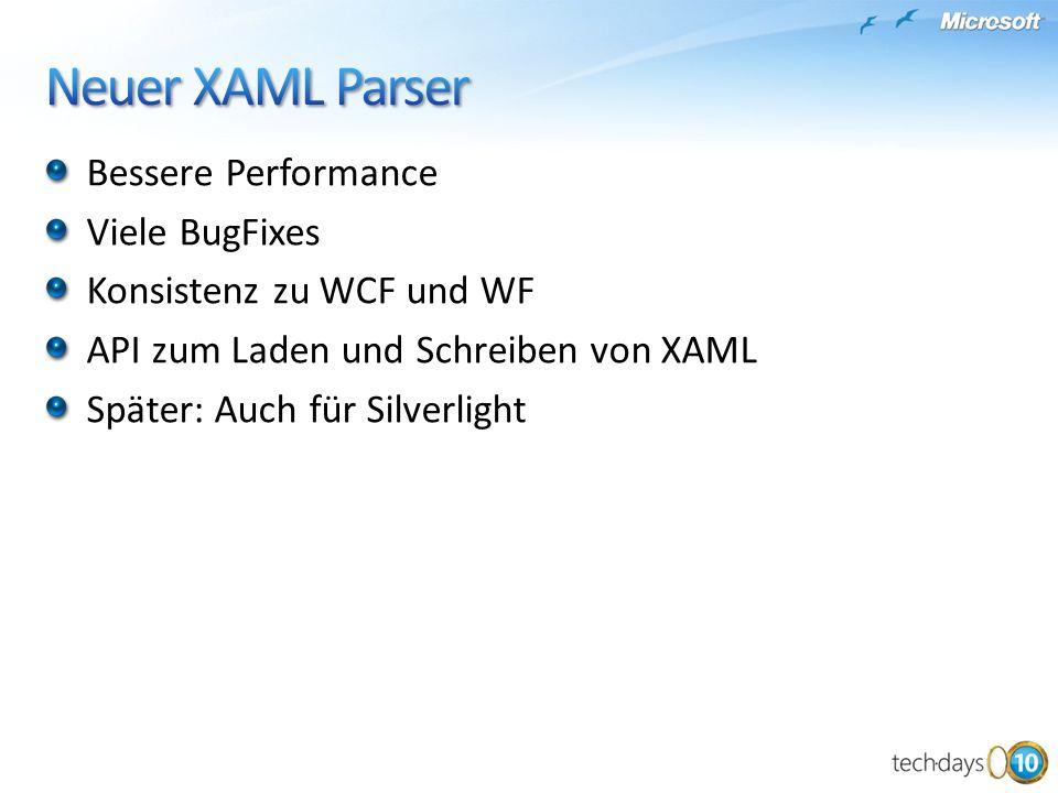 Neuer XAML Parser Bessere Performance Viele BugFixes
