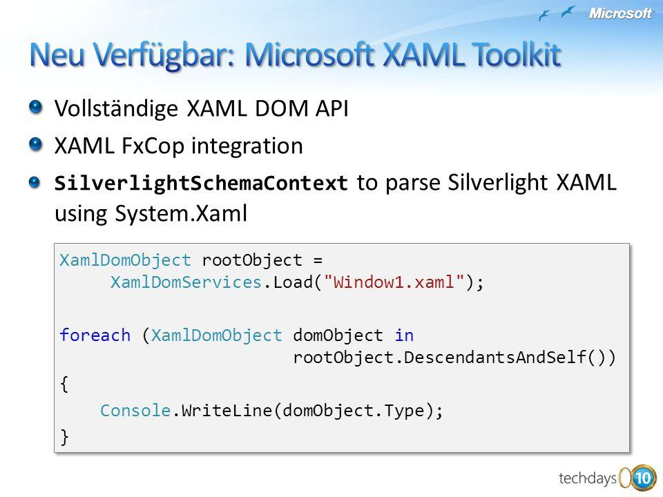 Neu Verfügbar: Microsoft XAML Toolkit
