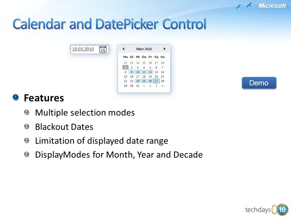 Calendar and DatePicker Control