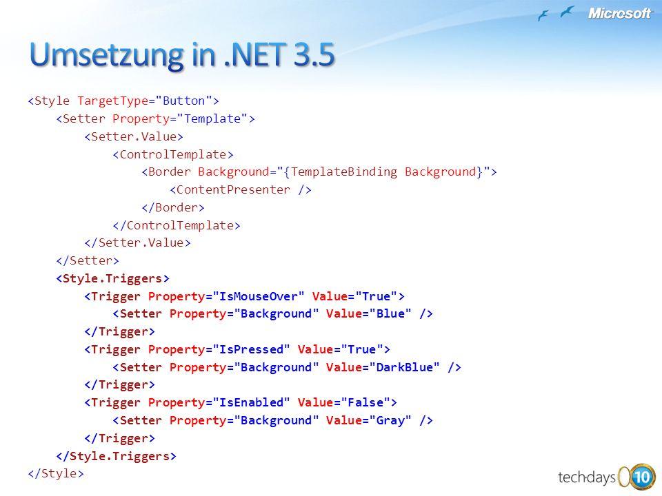 Umsetzung in .NET 3.5