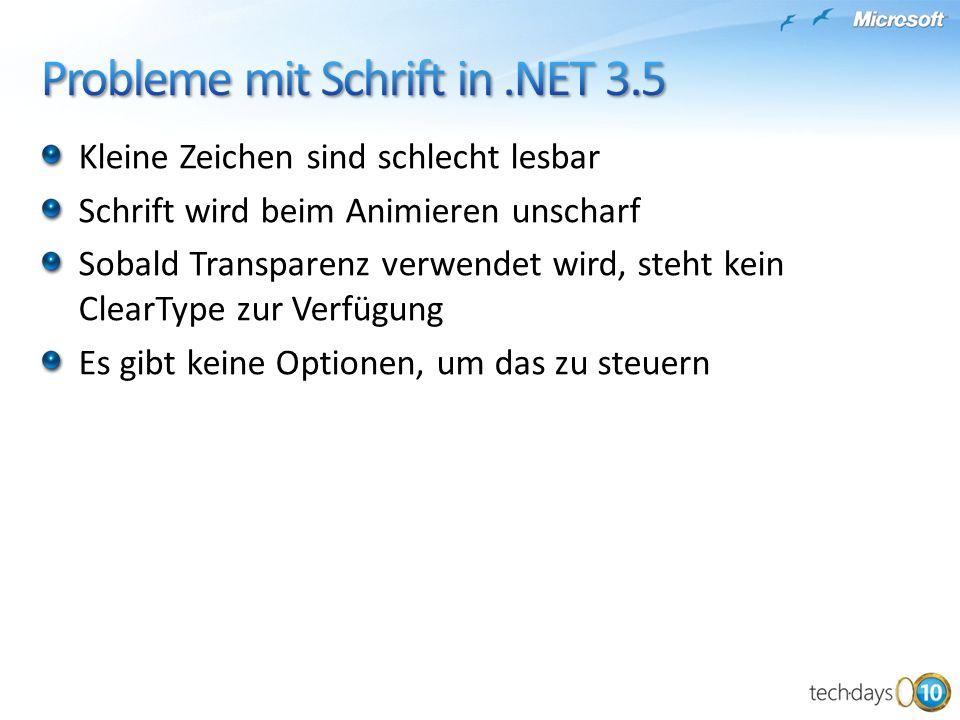 Probleme mit Schrift in .NET 3.5