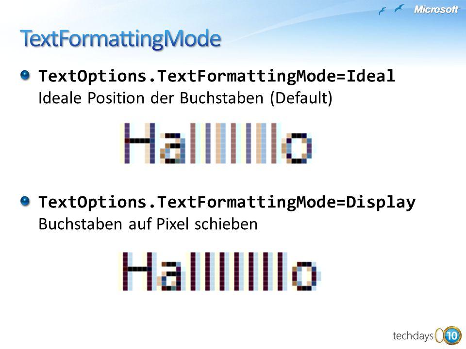 TextFormattingMode TextOptions.TextFormattingMode=Ideal Ideale Position der Buchstaben (Default)