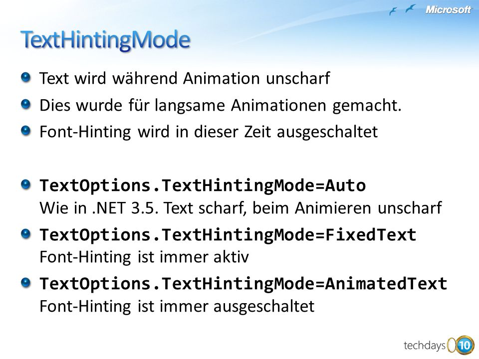 TextHintingMode Text wird während Animation unscharf