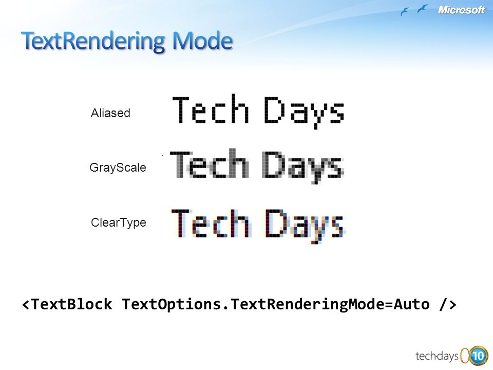 TextRendering Mode Aliased GrayScale ClearType <TextBlock TextOptions.TextRenderingMode=Auto />