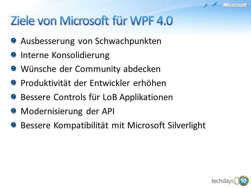 Ziele von Microsoft für WPF 4.0