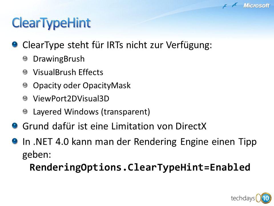 ClearTypeHint ClearType steht für IRTs nicht zur Verfügung: