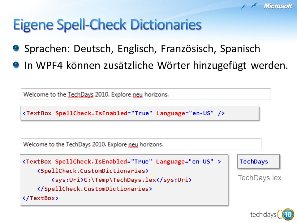 Eigene Spell-Check Dictionaries