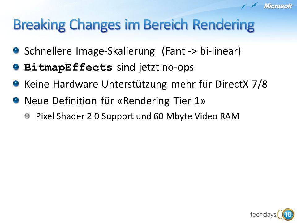 Breaking Changes im Bereich Rendering