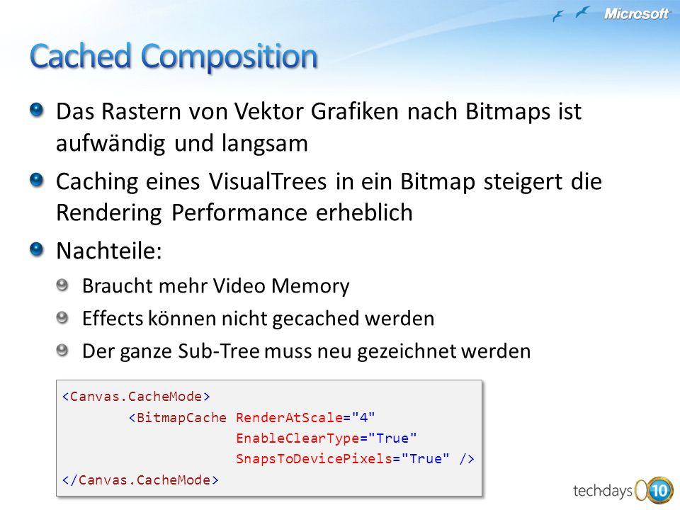 Cached Composition Das Rastern von Vektor Grafiken nach Bitmaps ist aufwändig und langsam.