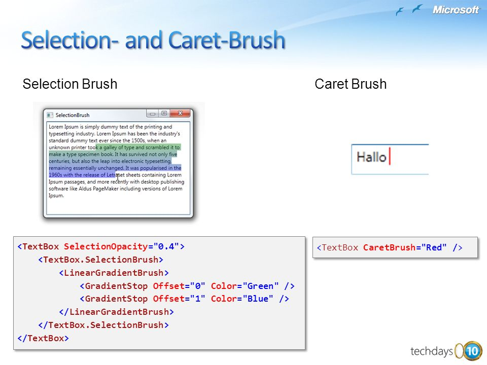Selection- and Caret-Brush
