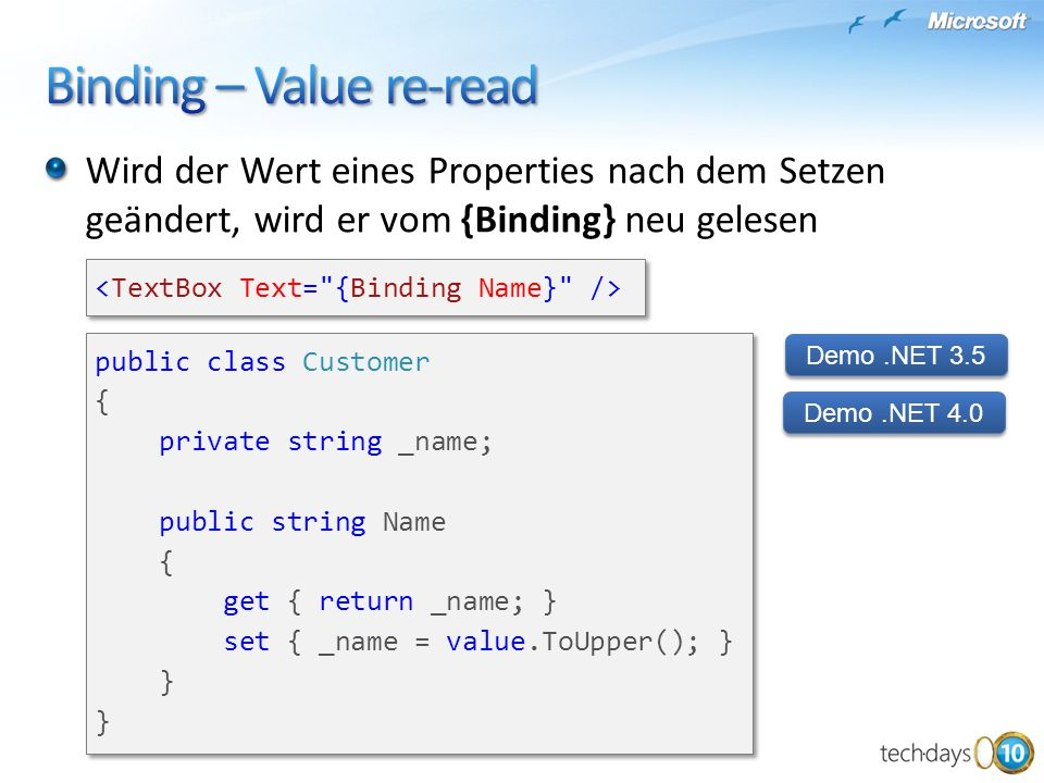 Binding – Value re-read