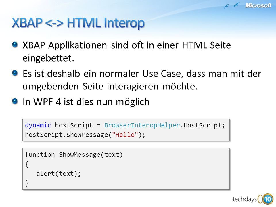 XBAP <-> HTML Interop