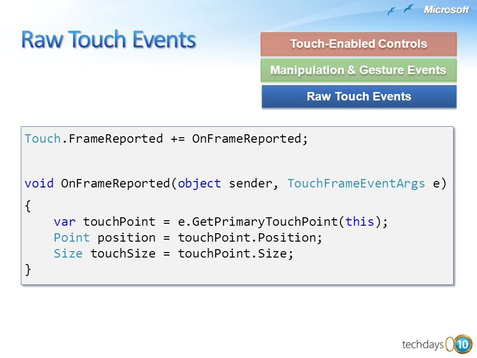 Touch-Enabled Controls Manipulation & Gesture Events