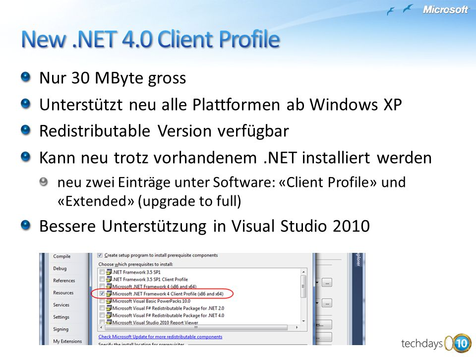 New .NET 4.0 Client Profile Nur 30 MByte gross