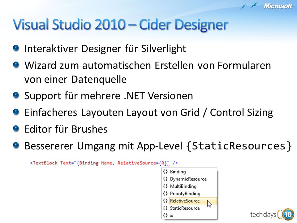 Visual Studio 2010 – Cider Designer