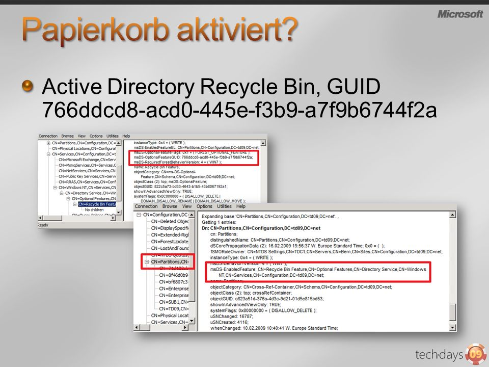 Papierkorb aktiviert Active Directory Recycle Bin, GUID 766ddcd8-acd0-445e-f3b9-a7f9b6744f2a