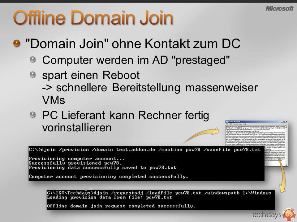 Offline Domain Join Domain Join ohne Kontakt zum DC