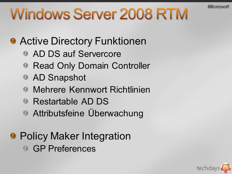 Windows Server 2008 RTM Active Directory Funktionen