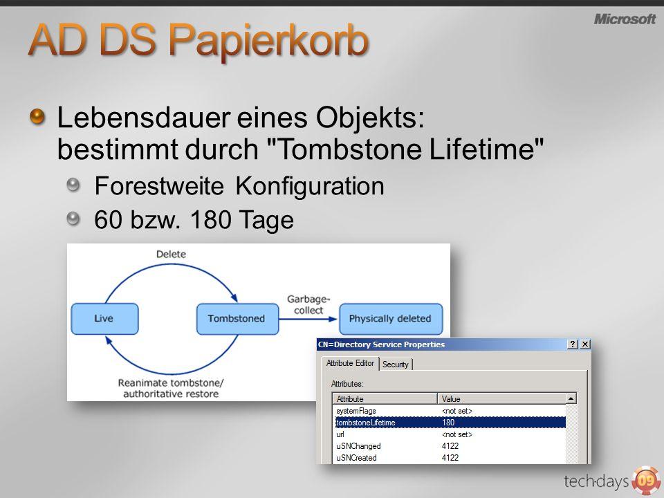 AD DS Papierkorb Lebensdauer eines Objekts: bestimmt durch Tombstone Lifetime Forestweite Konfiguration.