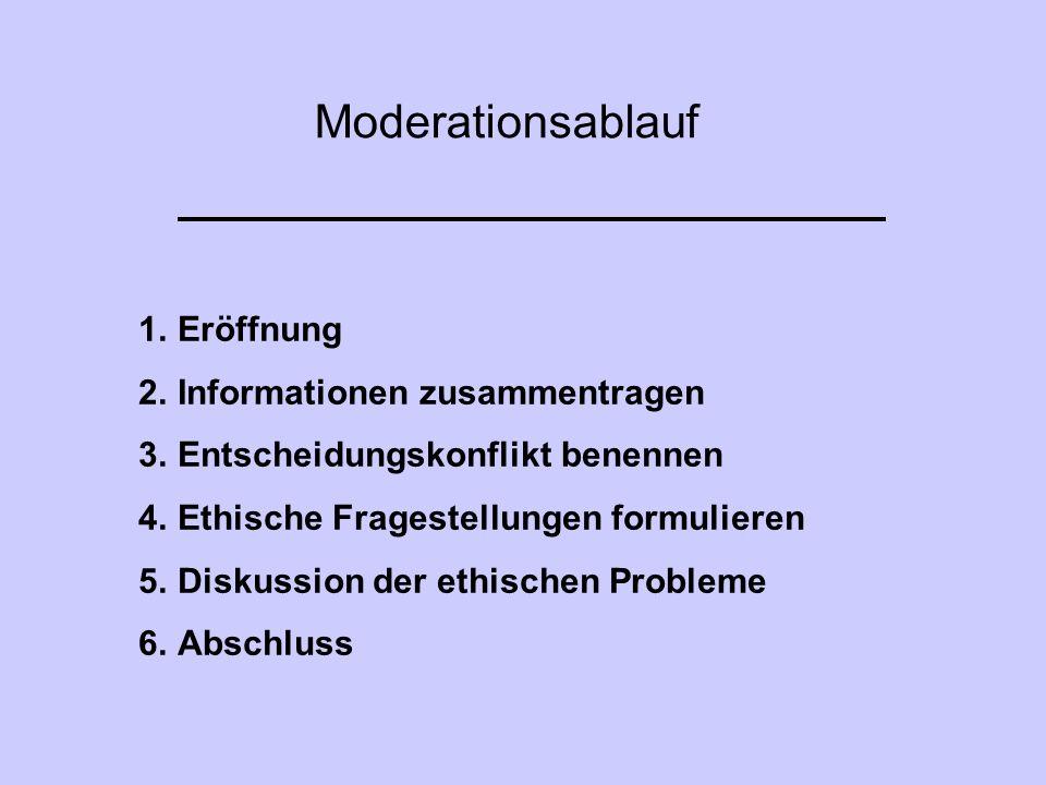 Moderationsablauf Eröffnung Informationen zusammentragen